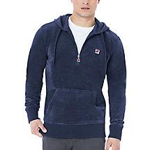 venezia half zip velour hoody in navy