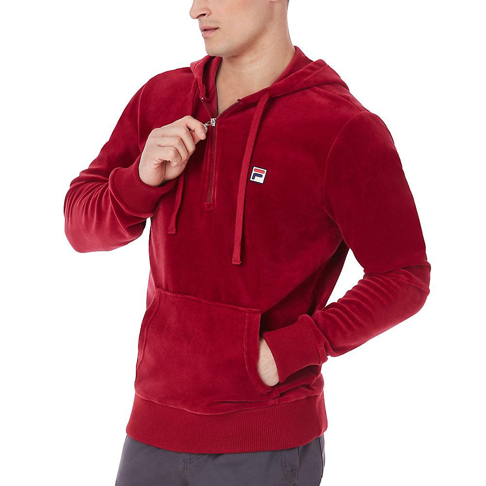 venezia half zip velour hoody in red