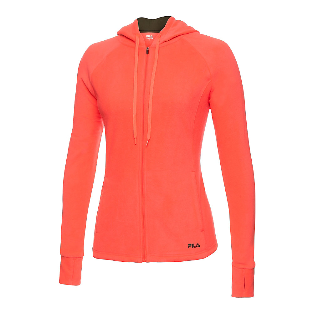 microfleece jacket in coral