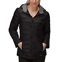 channel puffer jacket in black