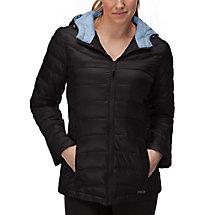 channel puffer jacket in black