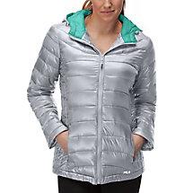 channel puffer jacket in silver