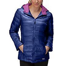 channel puffer jacket in navy