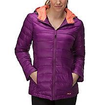 channel puffer jacket in plum