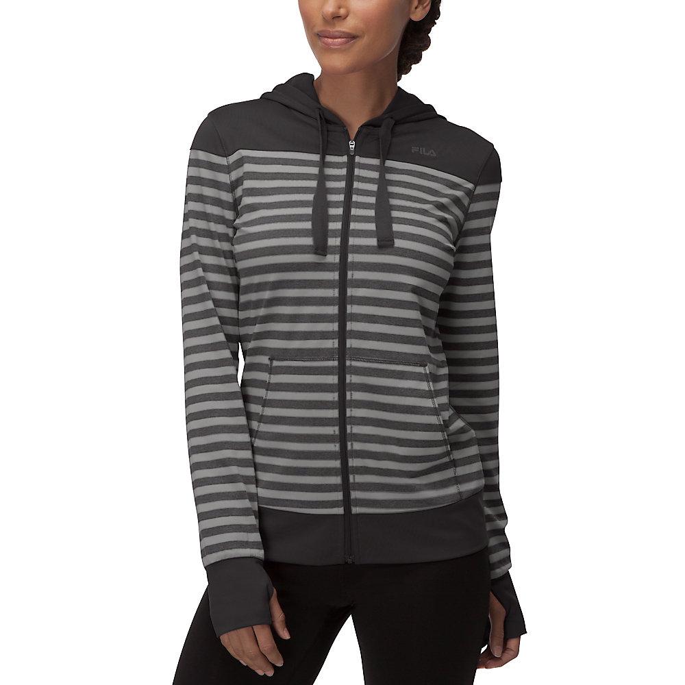 striped hyped hoody in black