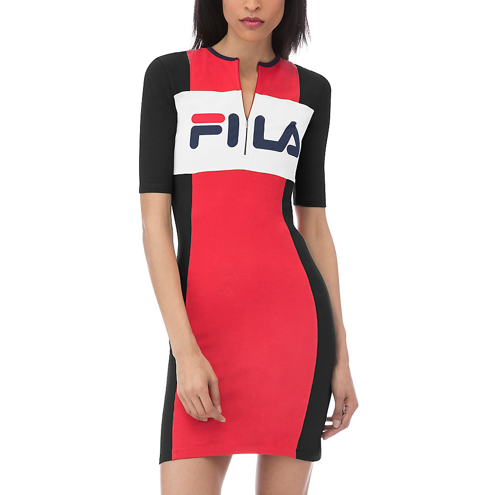kiki cut & sew dip dress in red