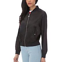 tilly satin jacket in black