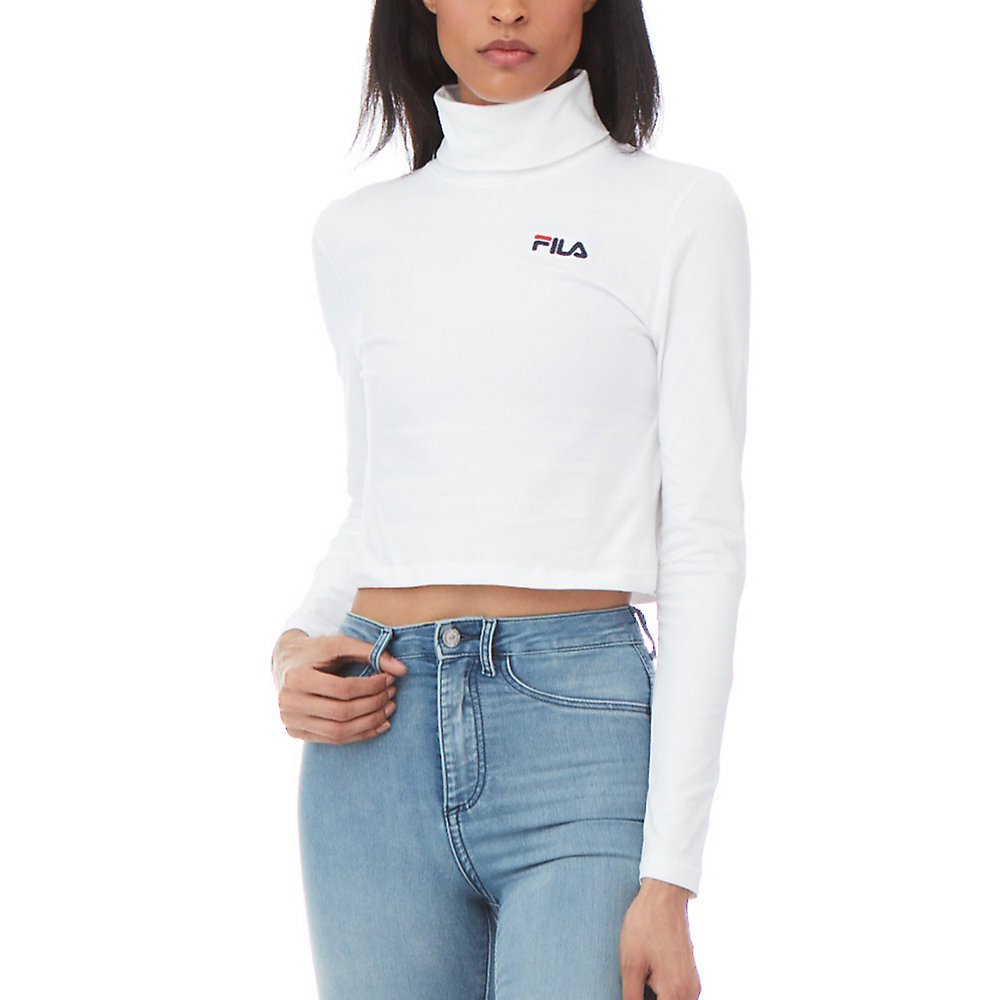 annie cropped turtleneck in white