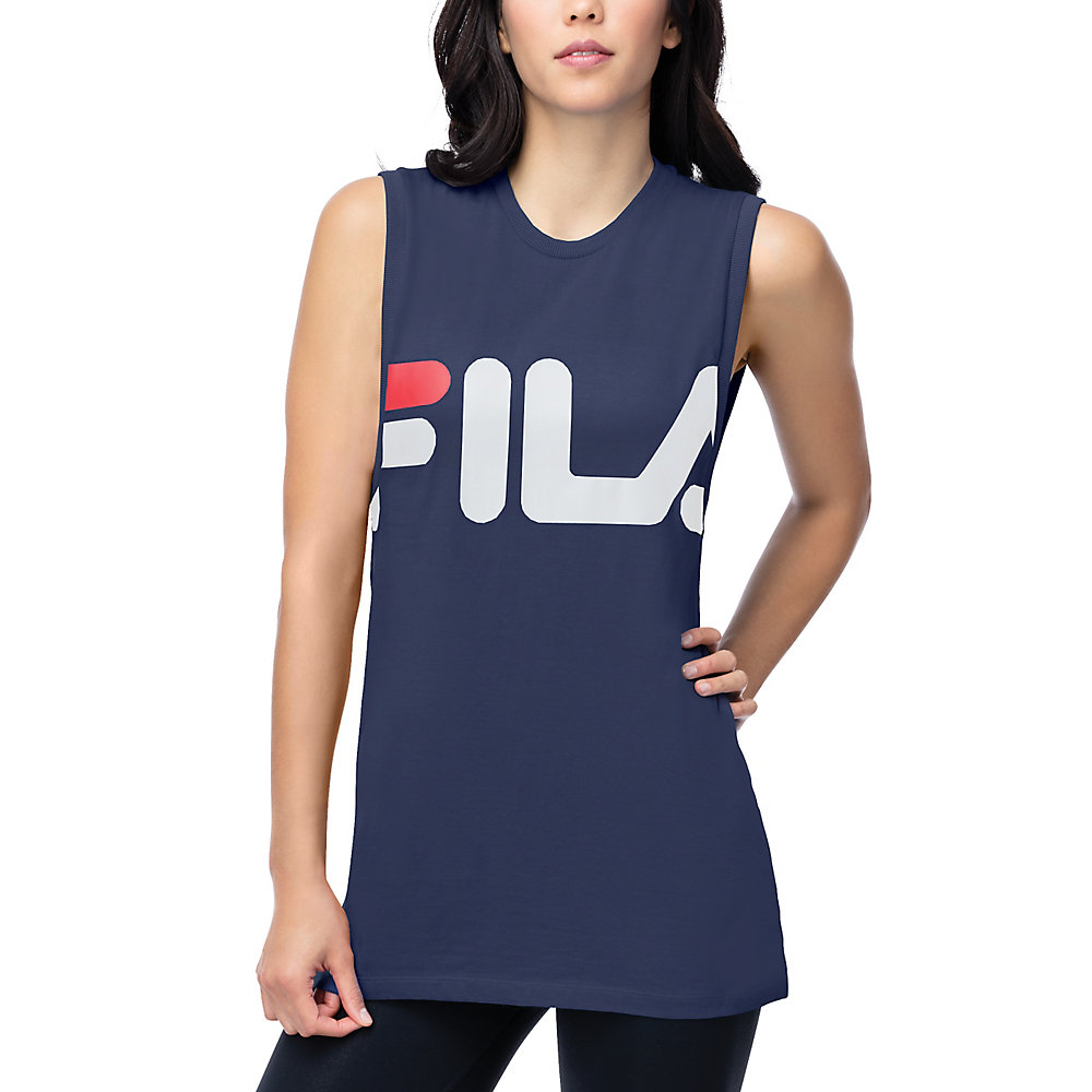 sesto sleeveless tee in navy