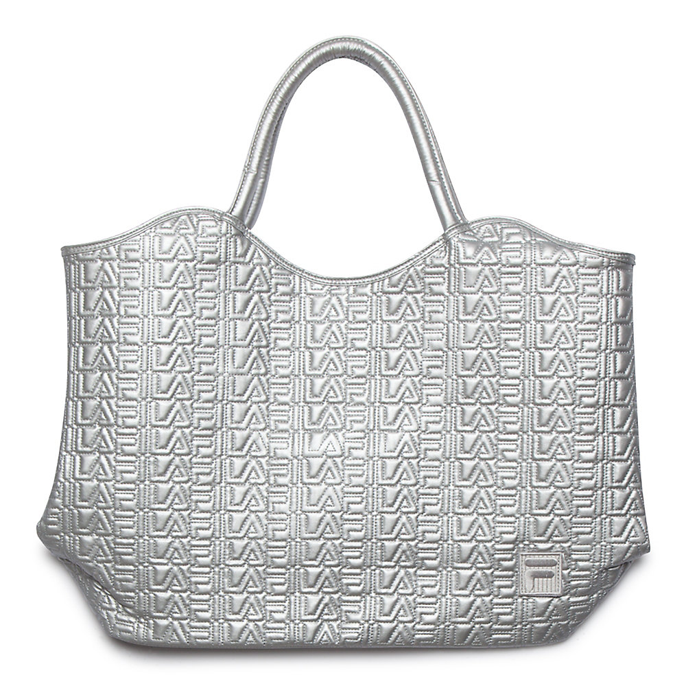 oversized tote in silver