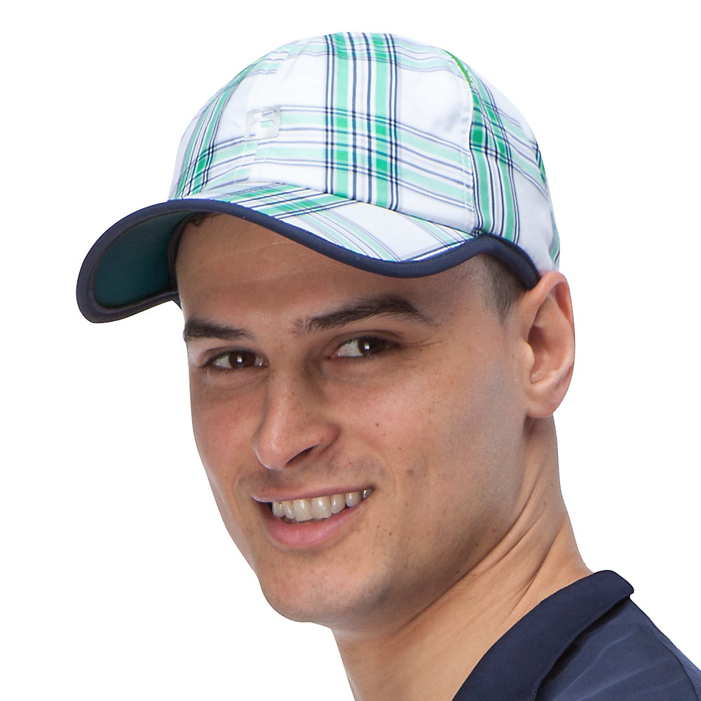 club plaid cap in white