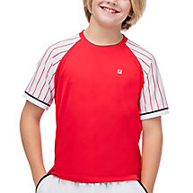 heritage pin striped crew in red