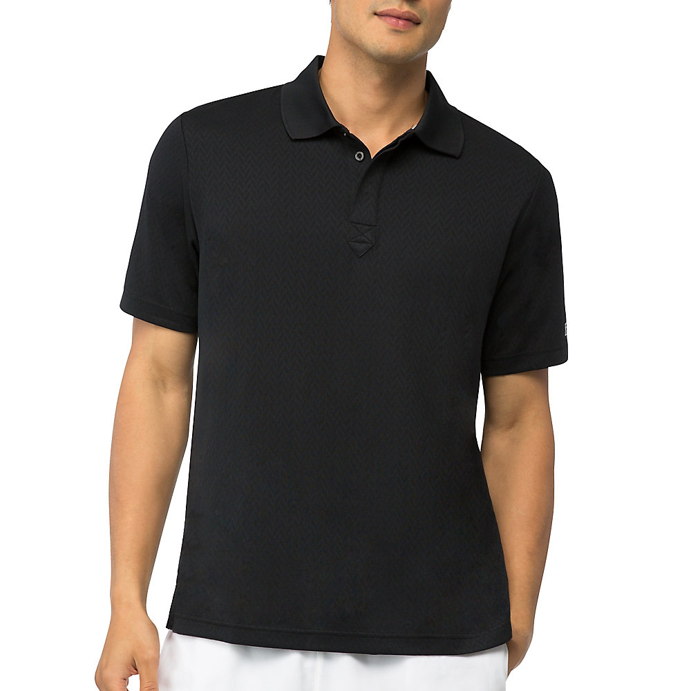 jacquard polo in black