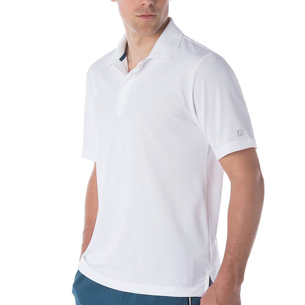 jacquard polo in white