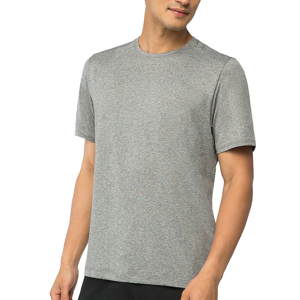 men's fundamental heather crew in grey