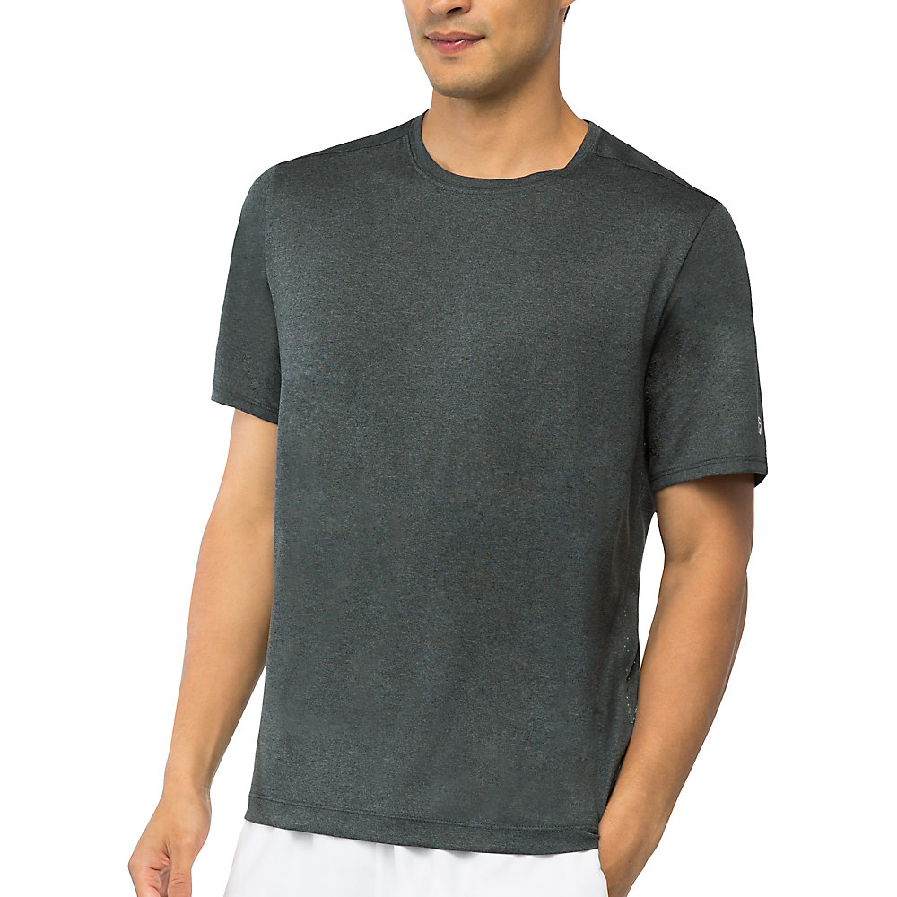 men's fundamental heather crew in ebony