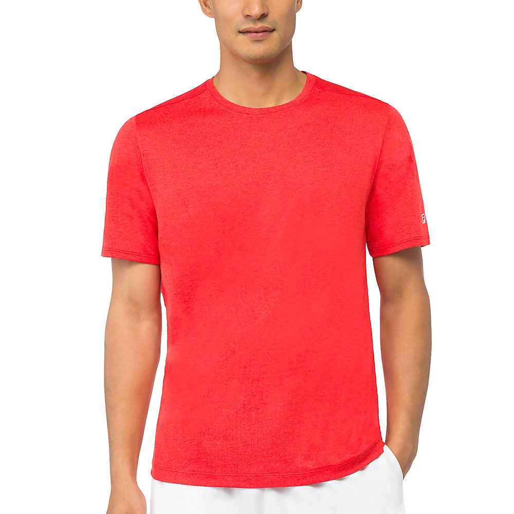 men's fundamental heather crew in paprika