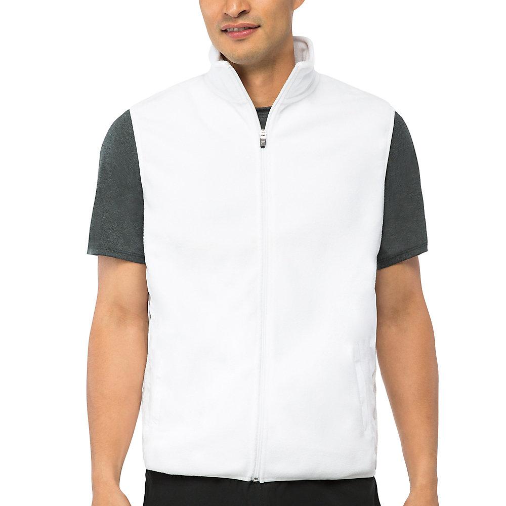 fundamental microfleece vest in white