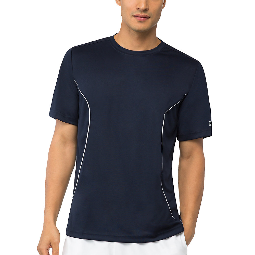 men's fundamental crew neck top in filanavy