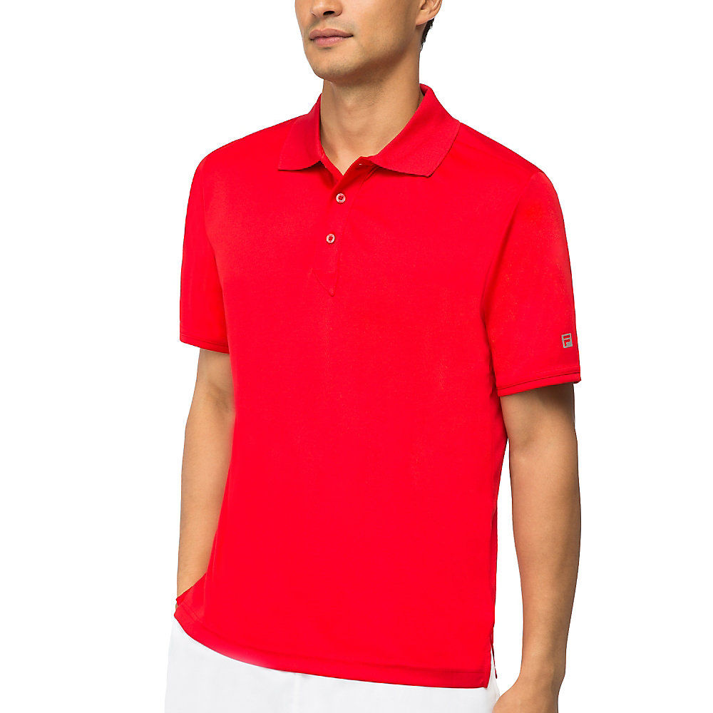 fundamental solid polo in red