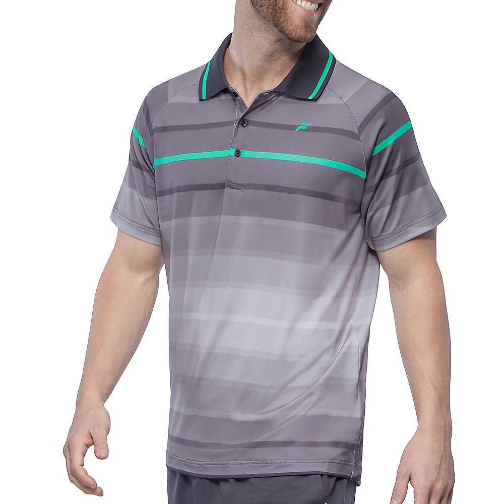 platinum stripe polo in storm