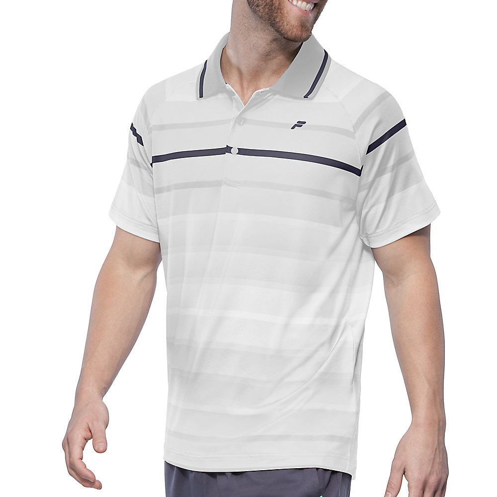 platinum stripe polo in white