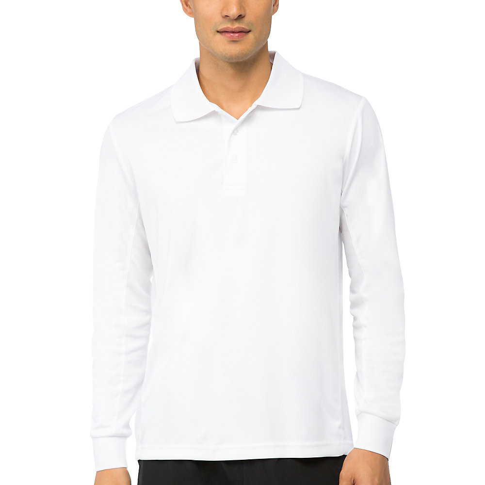 crestable long sleeve polo in white