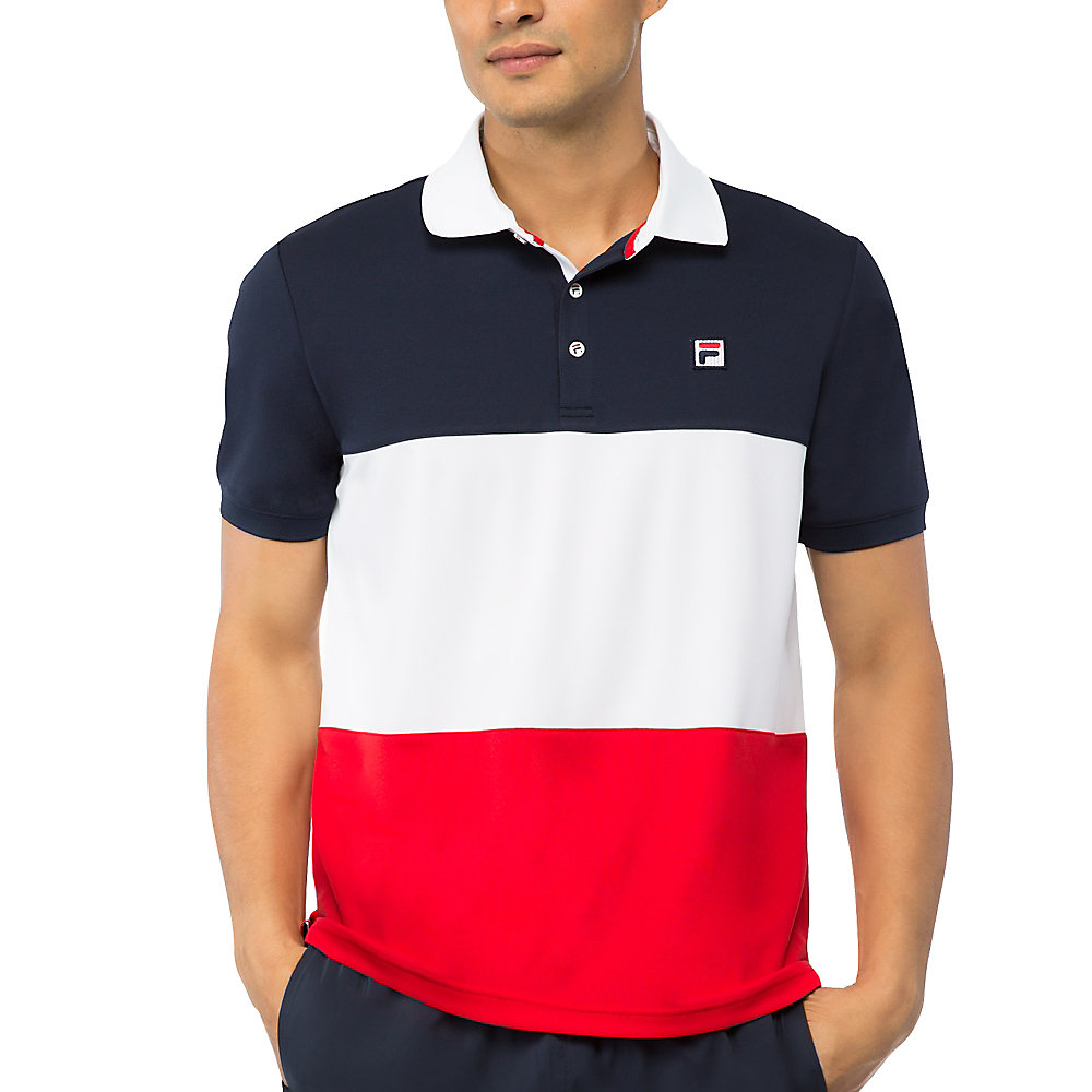 heritage color blocked polo in peacoat
