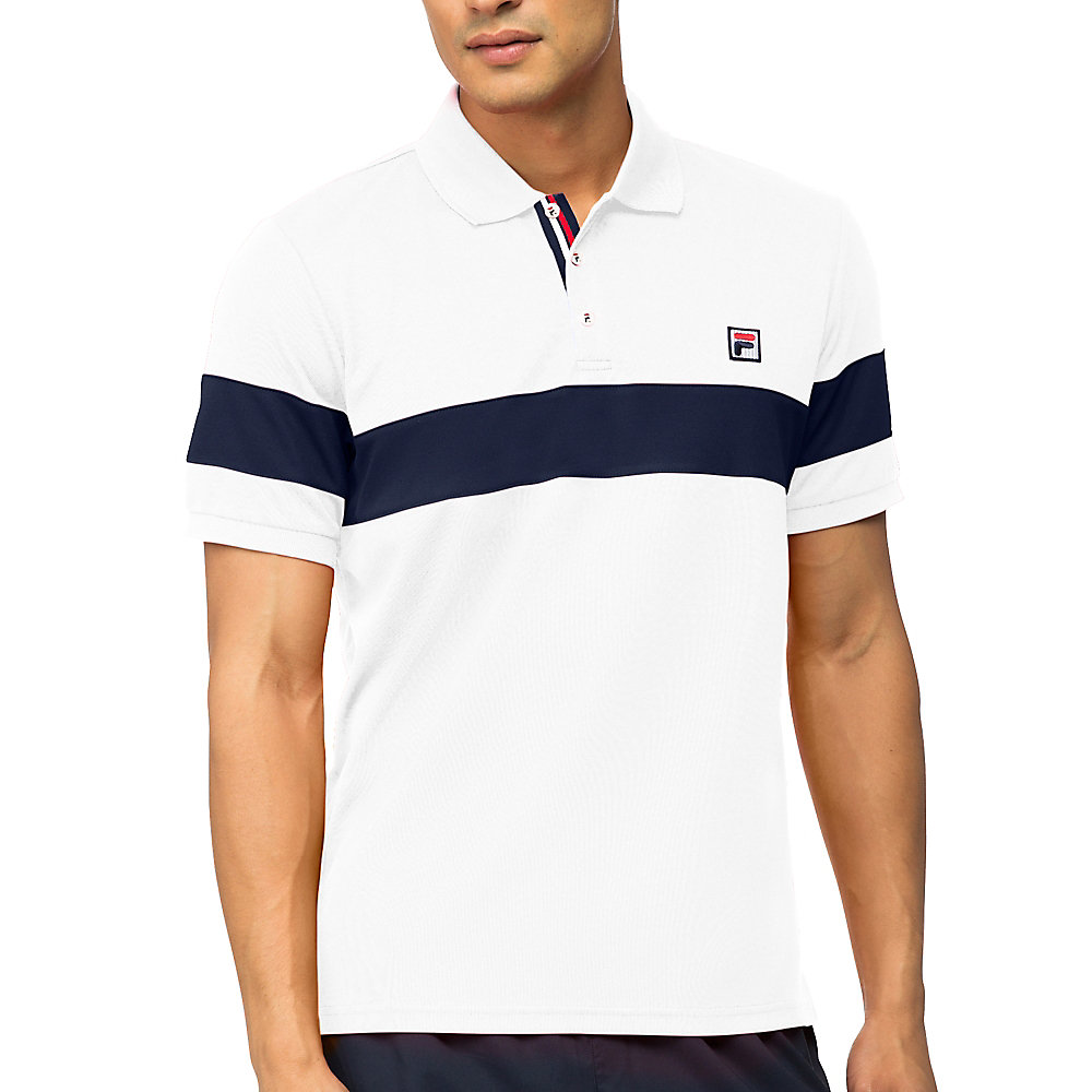 heritage stripe chest polo in white