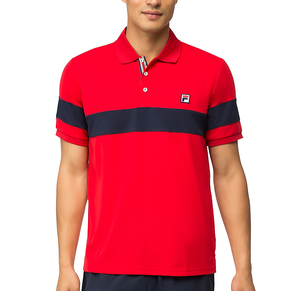 heritage stripe chest polo in red