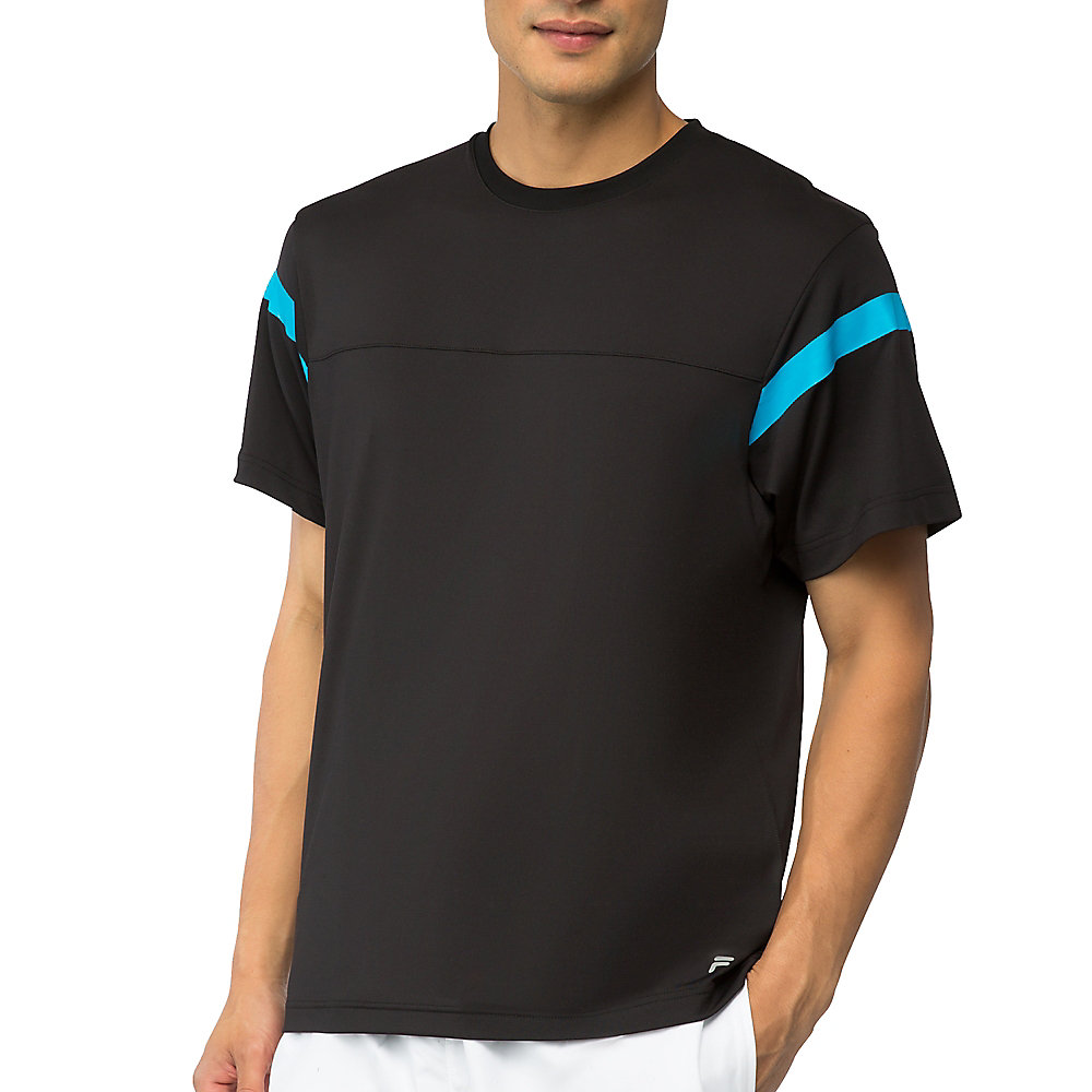 men's platinum colorblock crew in black