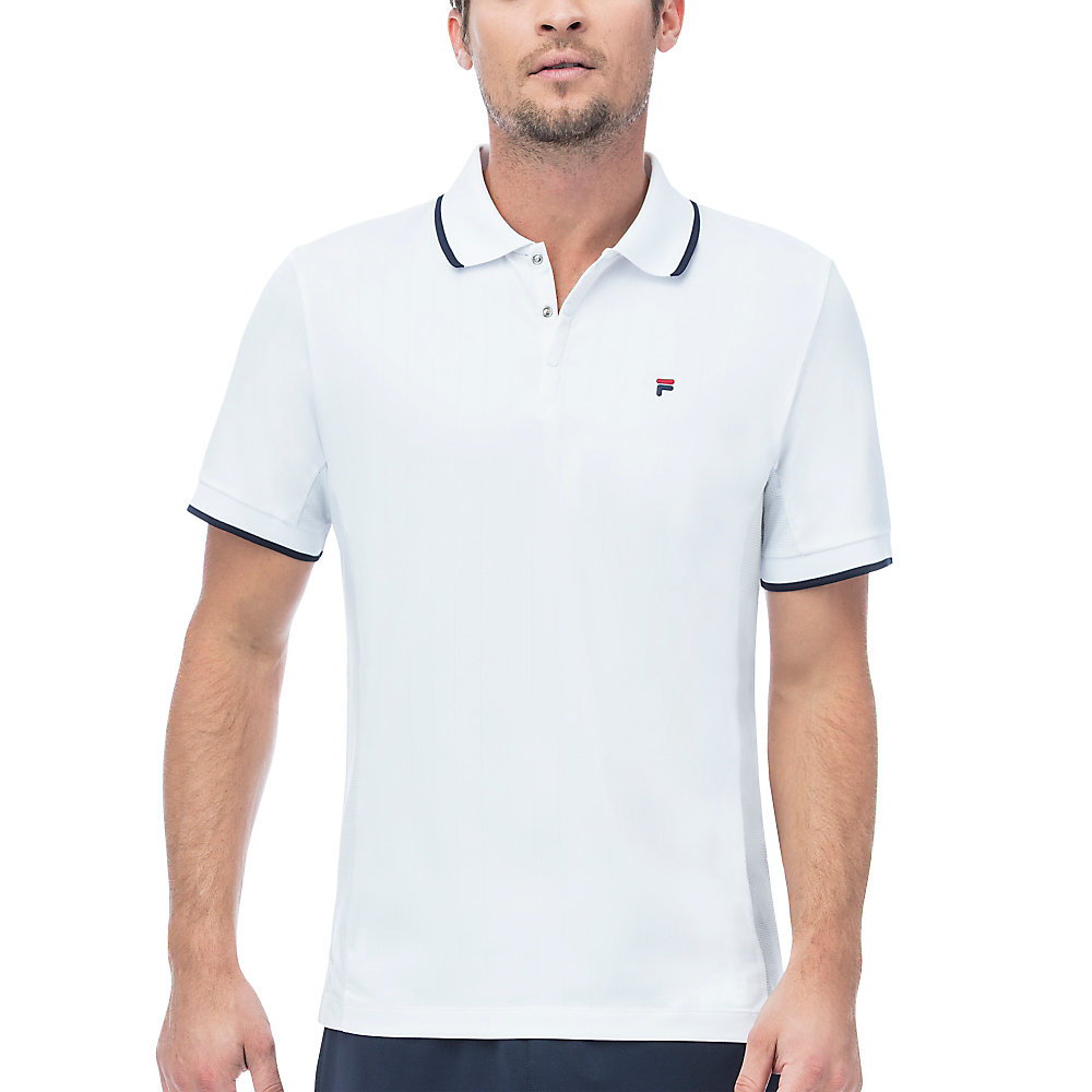 heritage pinstripe mesh polo in white