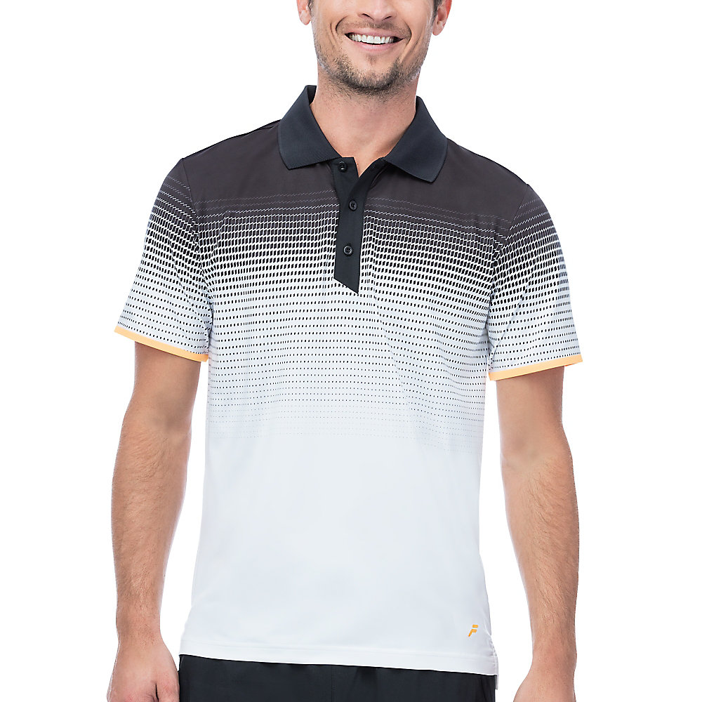 platinum printed polo in white
