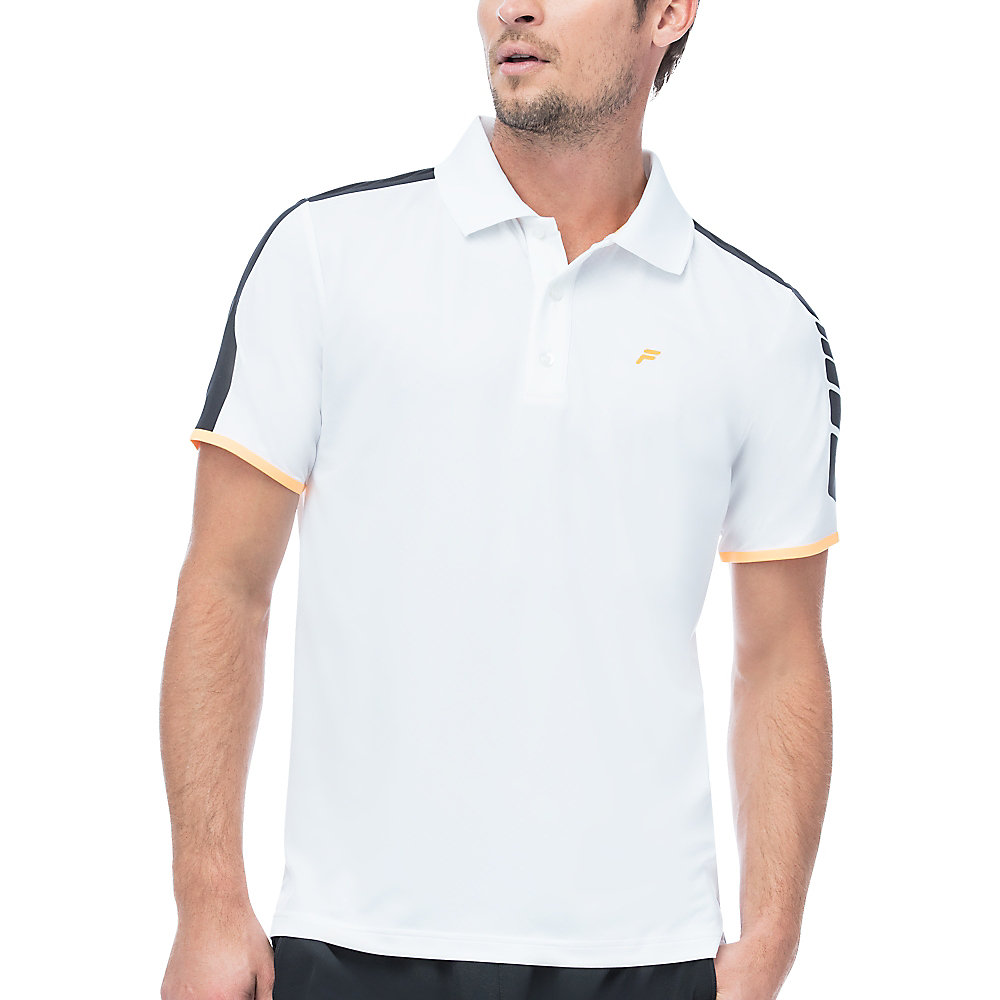 platinum laser cut polo in white