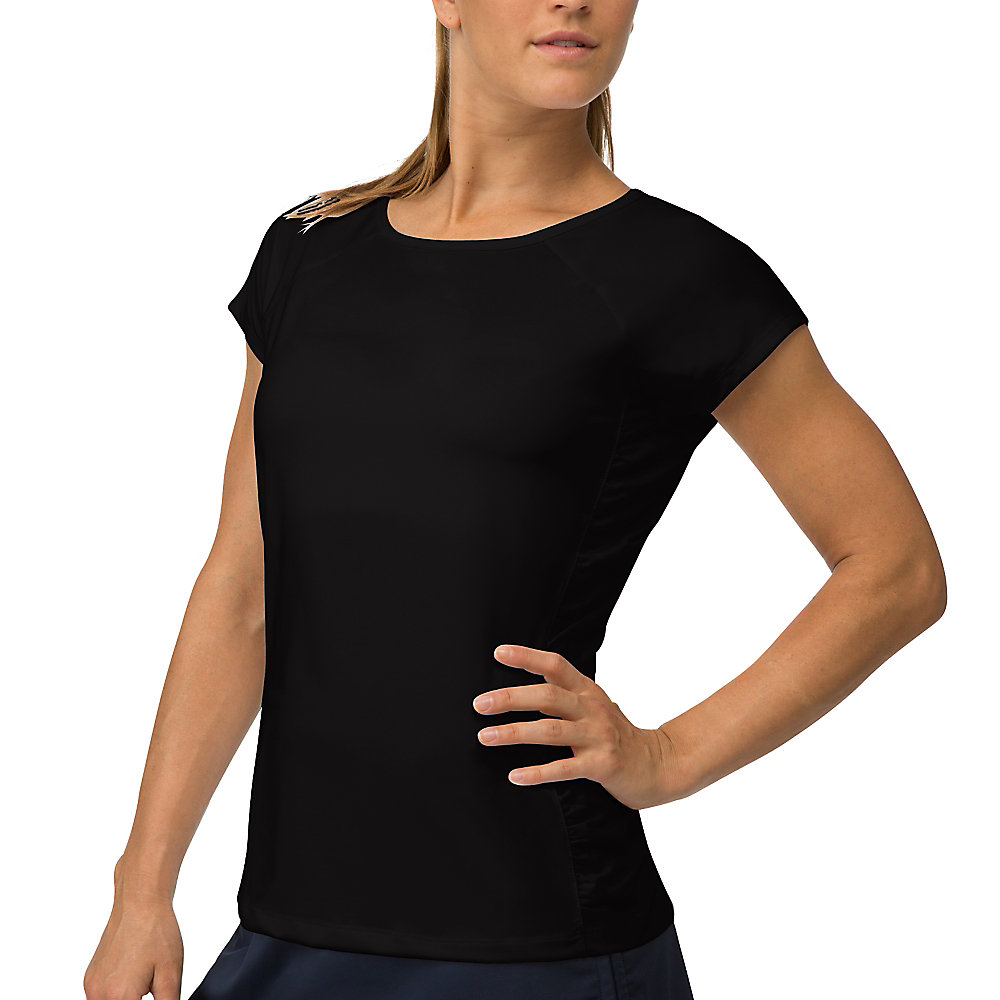 ruched cap sleeve top in jetblack