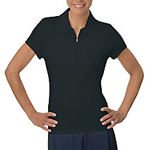 zip placket polo in jetblack