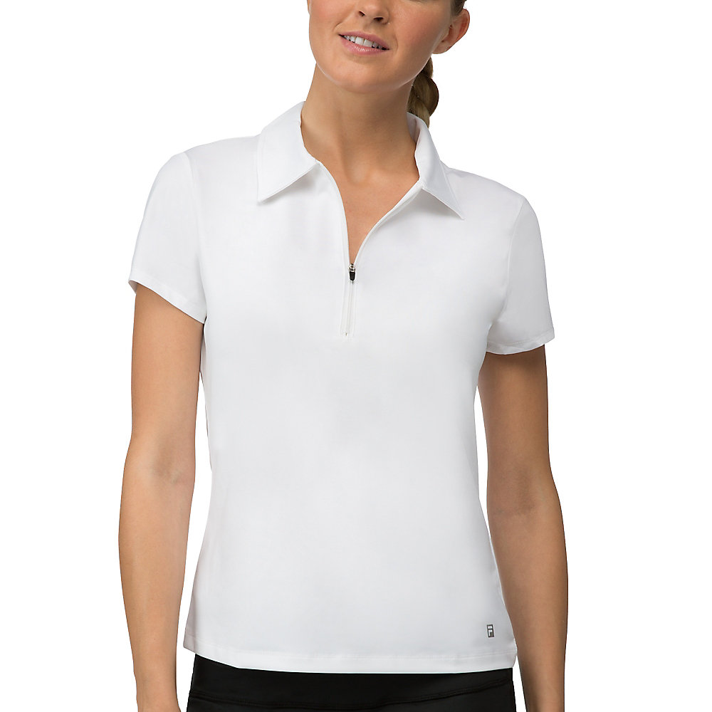 zip placket polo in white