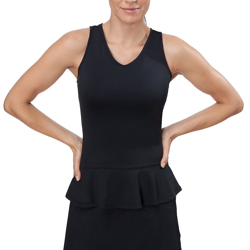 peplum v-neck tank in jetblack