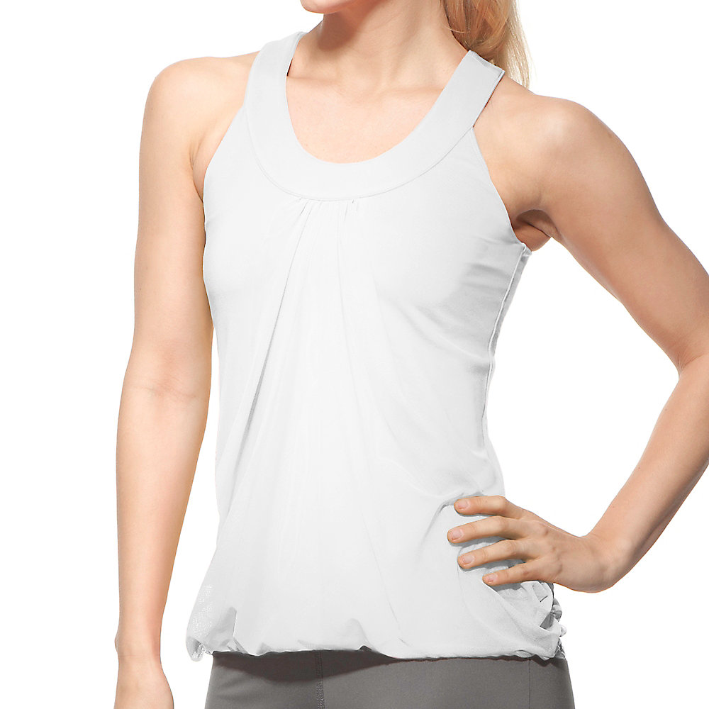 illusion draped tank in white