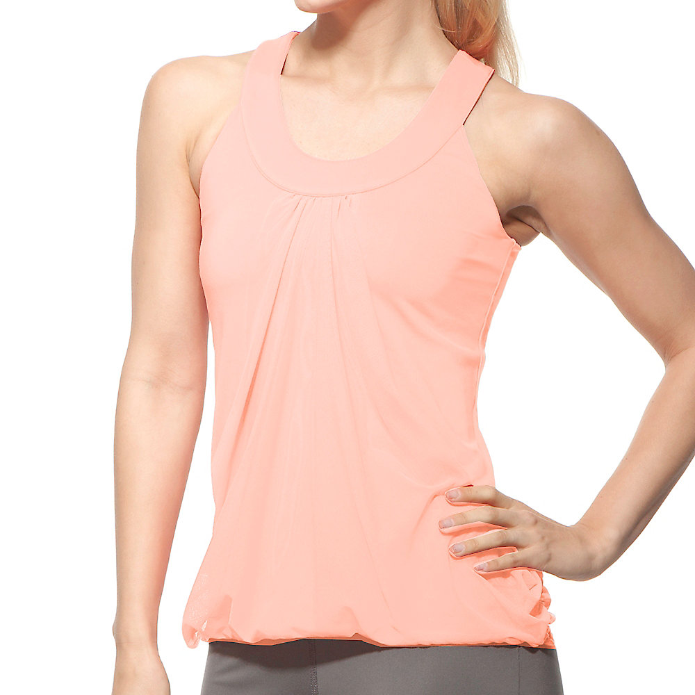 illusion draped tank in bleachedapricot