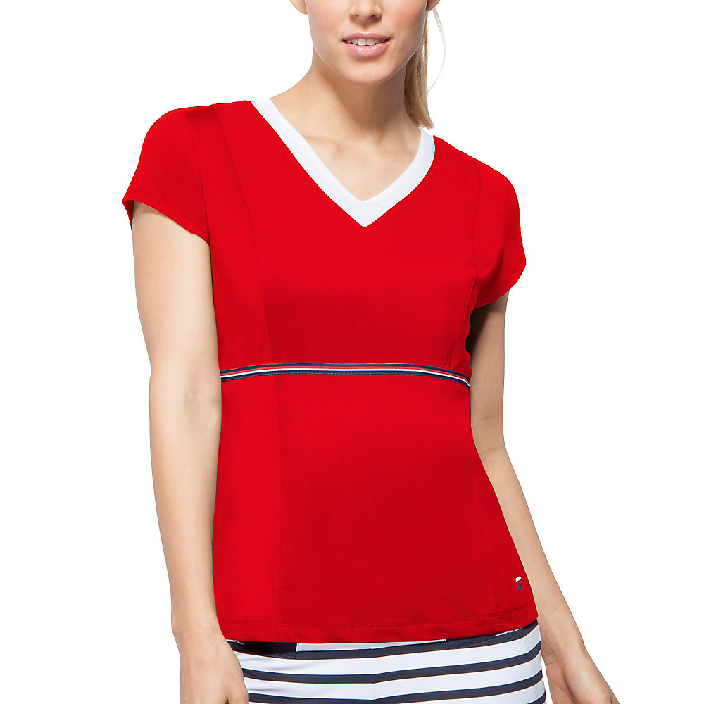 heritage v neck top in chili