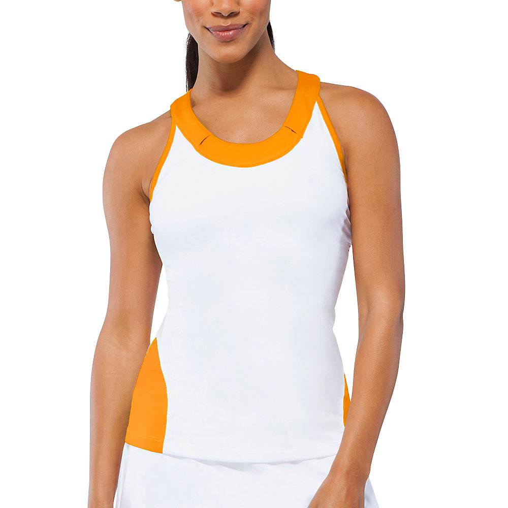 citrus bright racerback tank in orange