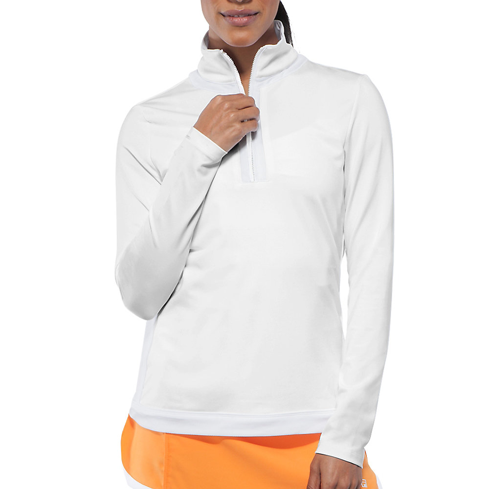 citrus bright half zip top in white