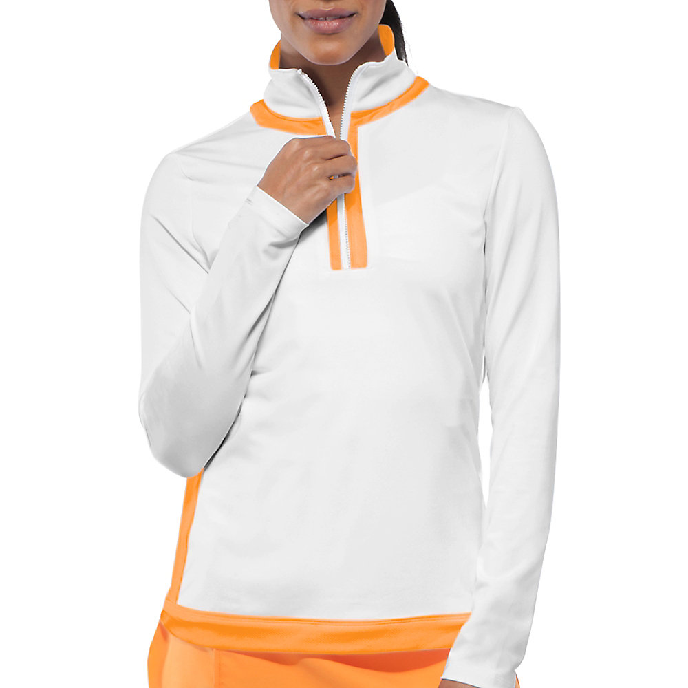 citrus bright half zip top in orange