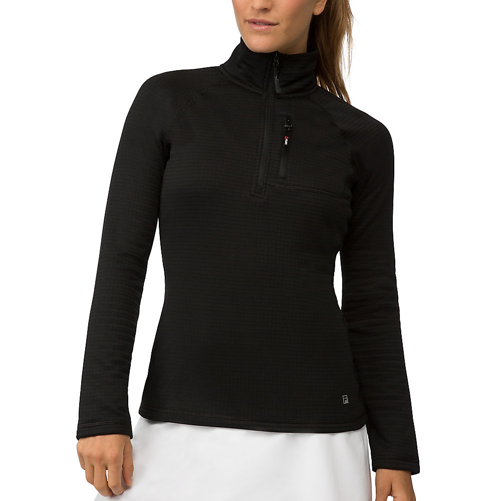 polartec half zip pullover in black