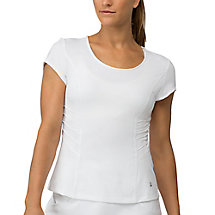 lawn cap sleeve top in white