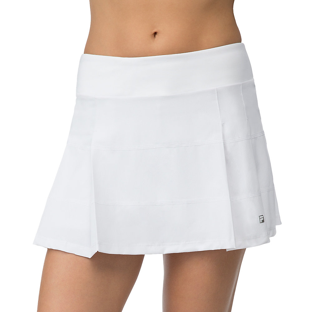 woven pleated skirt in white