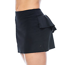 platinum laser cut skort in black