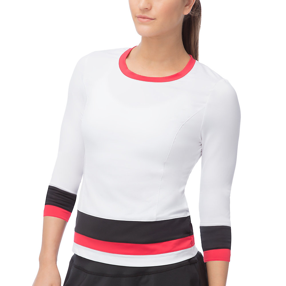 heritage 3/4 sleeve top in white