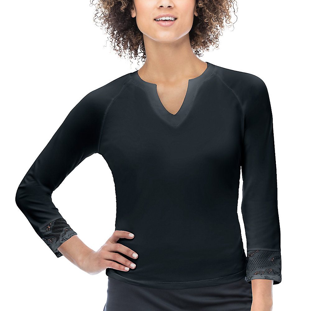 ace 3/4 sleeve top in black